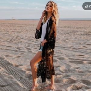 Gorgeous Sheer Black Lace Kimono Cover-Up